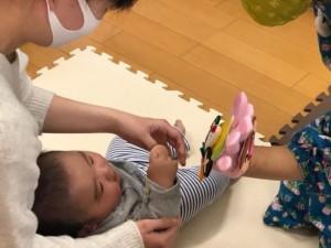 フェルトのおもちゃを触っている赤ちゃんの画像